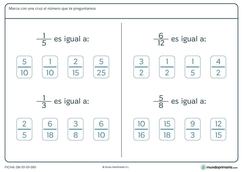 Ficha de equivalencia de fracciones para resolver por 6º de Primaria