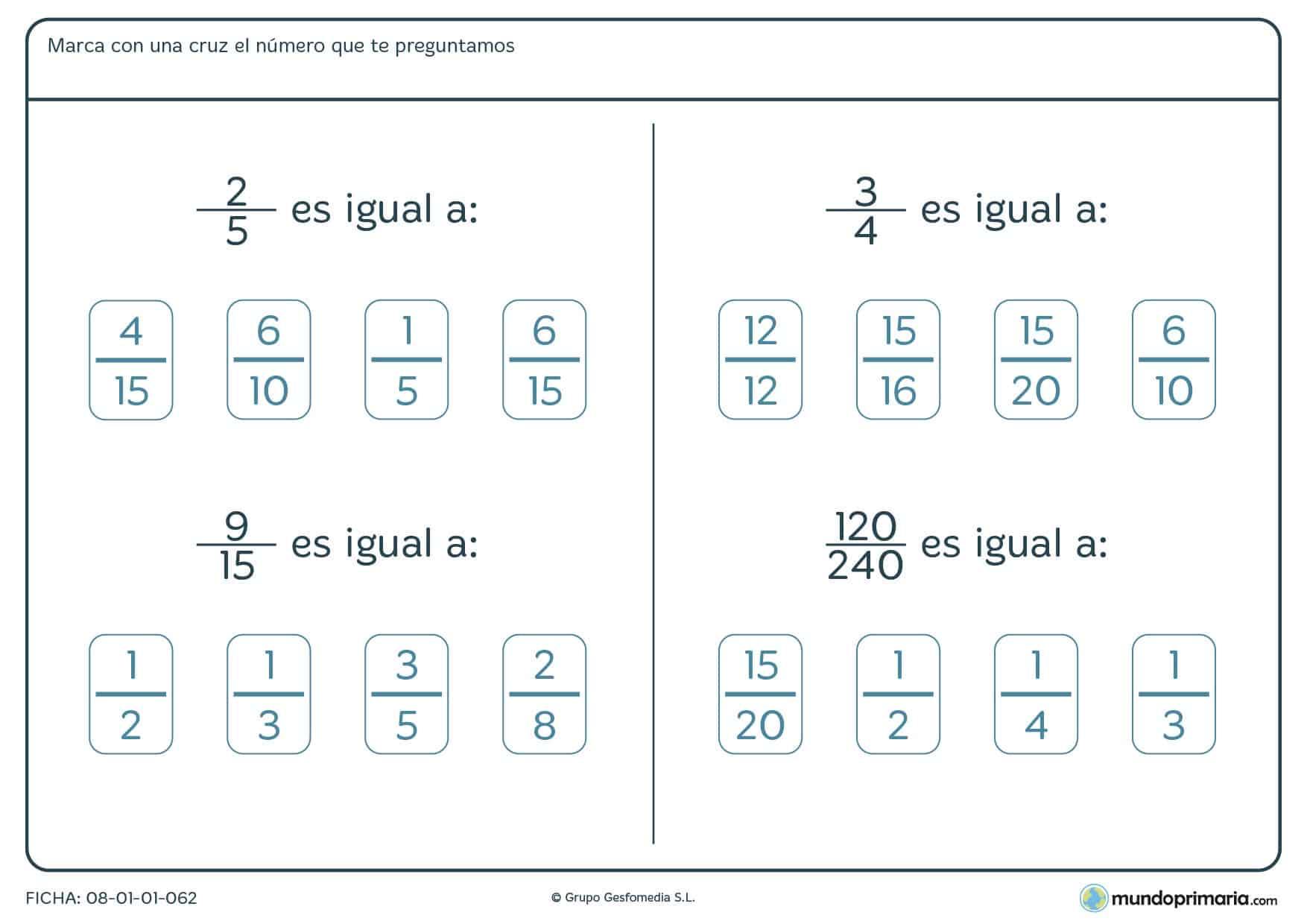 Ficha de fracciones para encontrar el número equivalente para 6º