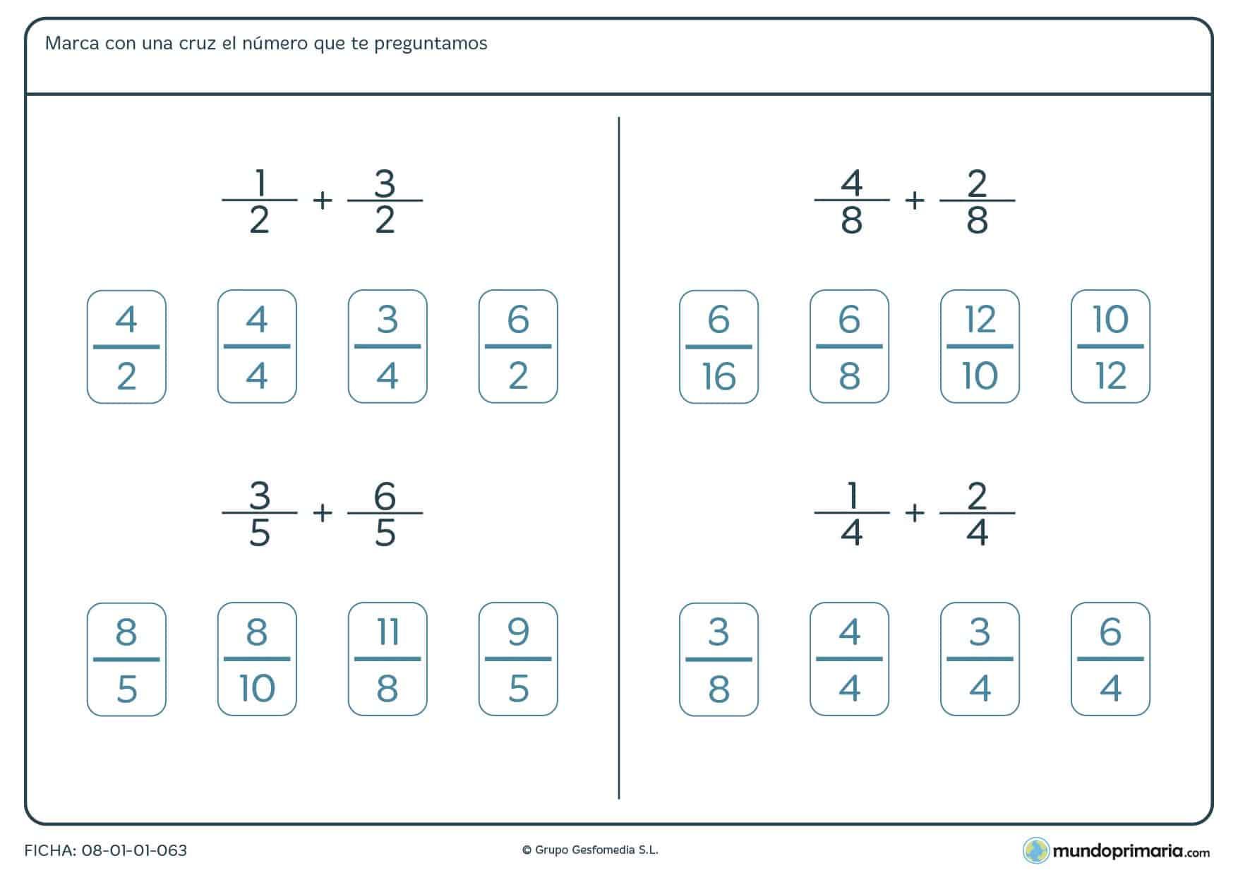 Ficha de suma de fracciones con mismo denominador para Primaria