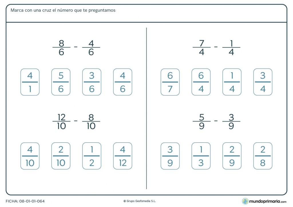 Ficha con sumas y restas de fracciones de distinto denominador para 6º