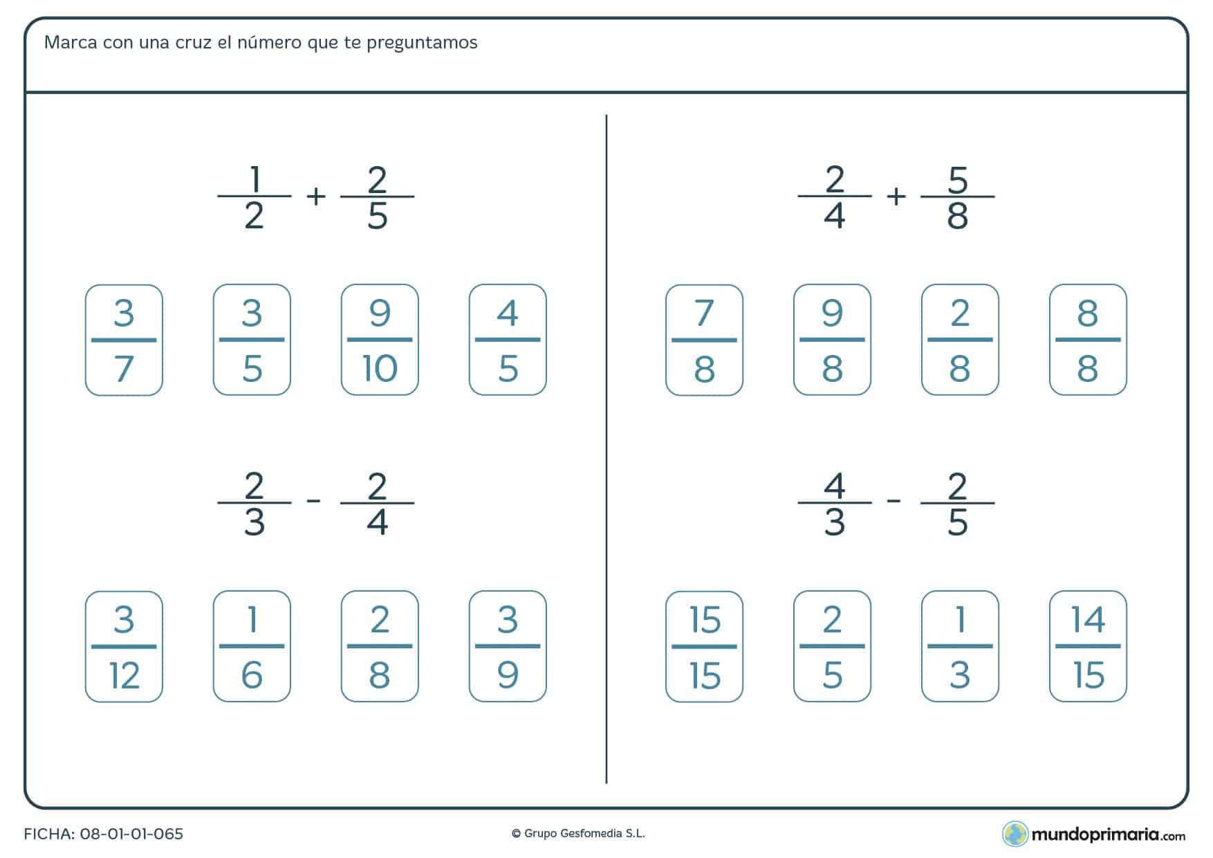 Ficha de multiplicar y dividir fracciones y un número entero para 6º
