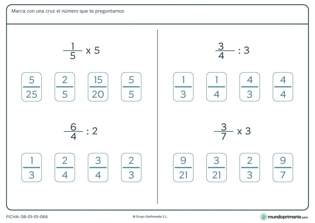 Ficha de redonder el resultado de la operación con fracciones para 6º