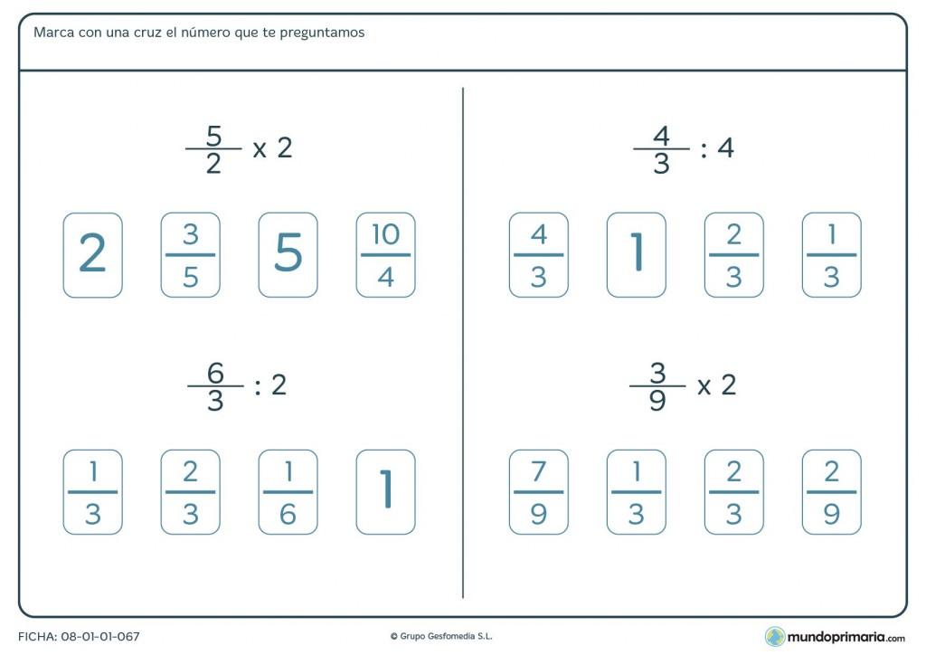 Ficha con operaciones de fracciones y números enteros para sexto