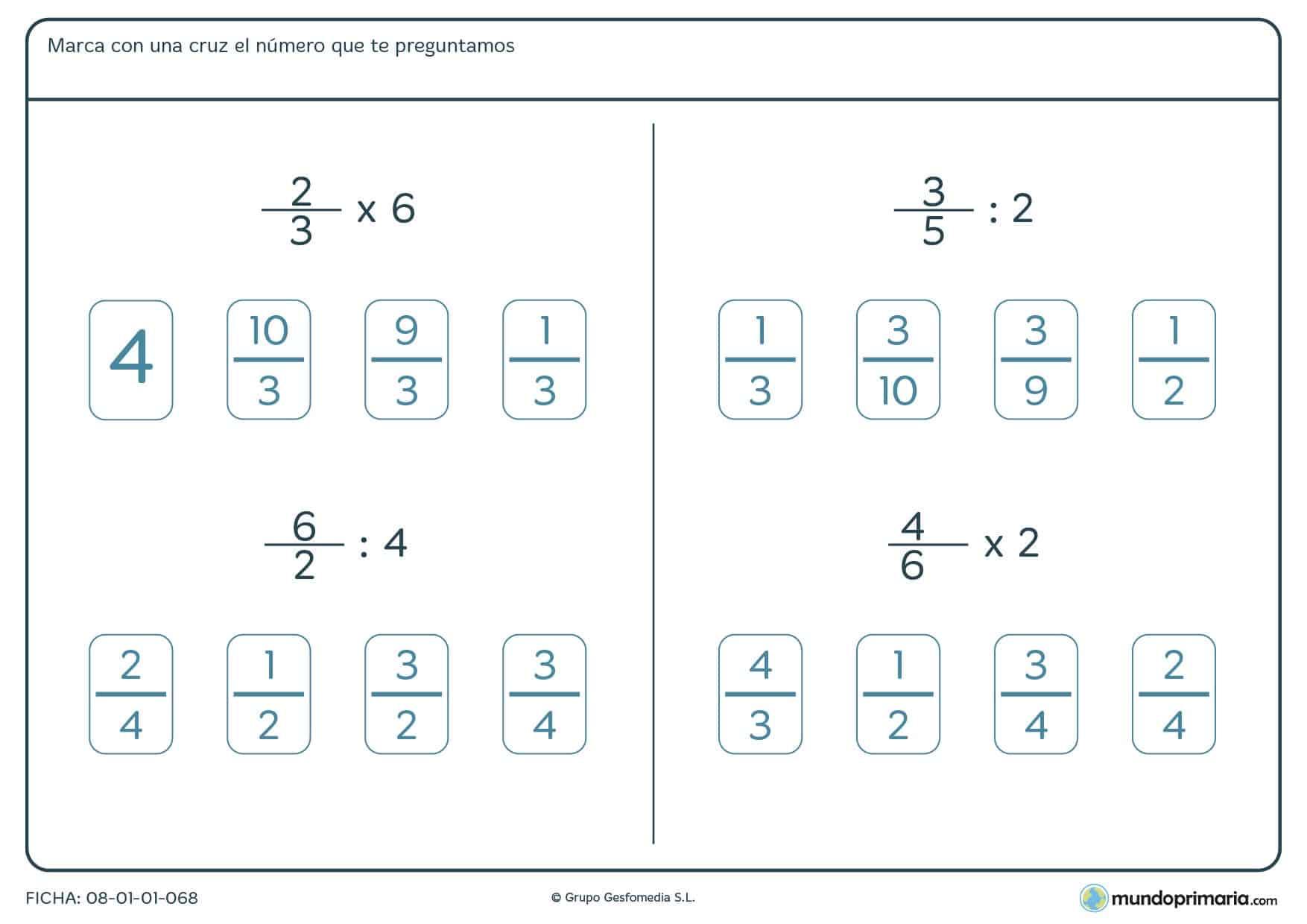 Ficha de multiplicar y dividir una fracción por un número para Primaria