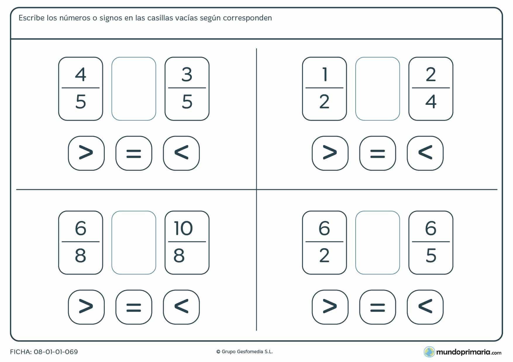 Ficha con signos para resolver la operación de fracciones para 6º