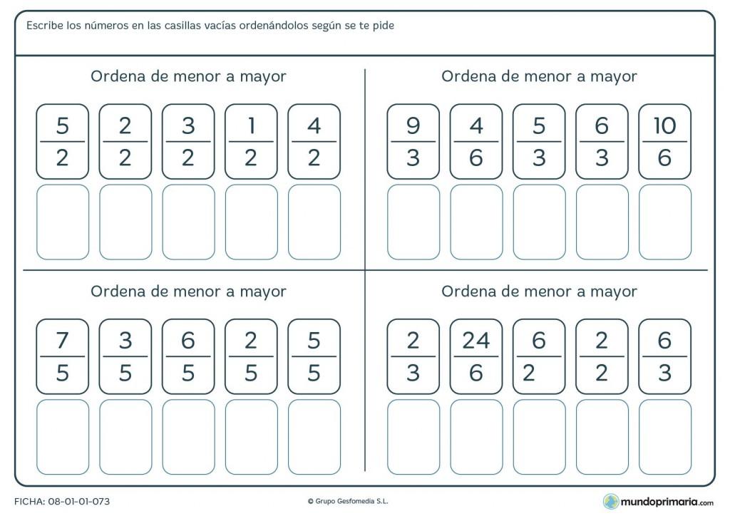 Ficha con fracciones para ordenar de menor a mayor para 6º de Primaria