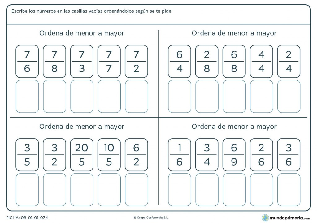 Ficha con números fraccionados para ordenar por alumnos de 6º