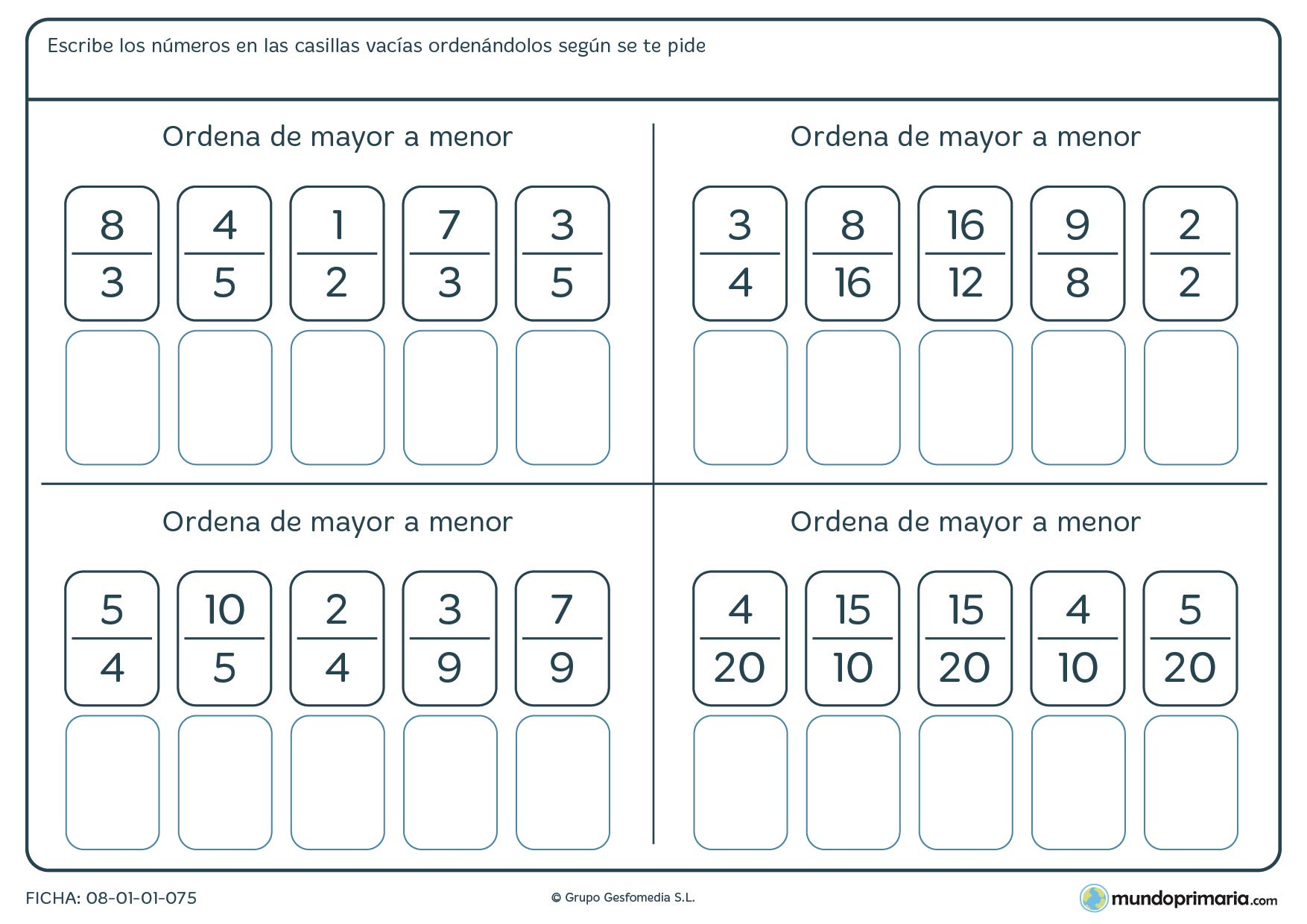 Ficha para reordenar las fracciones según el orden indicado para sexto