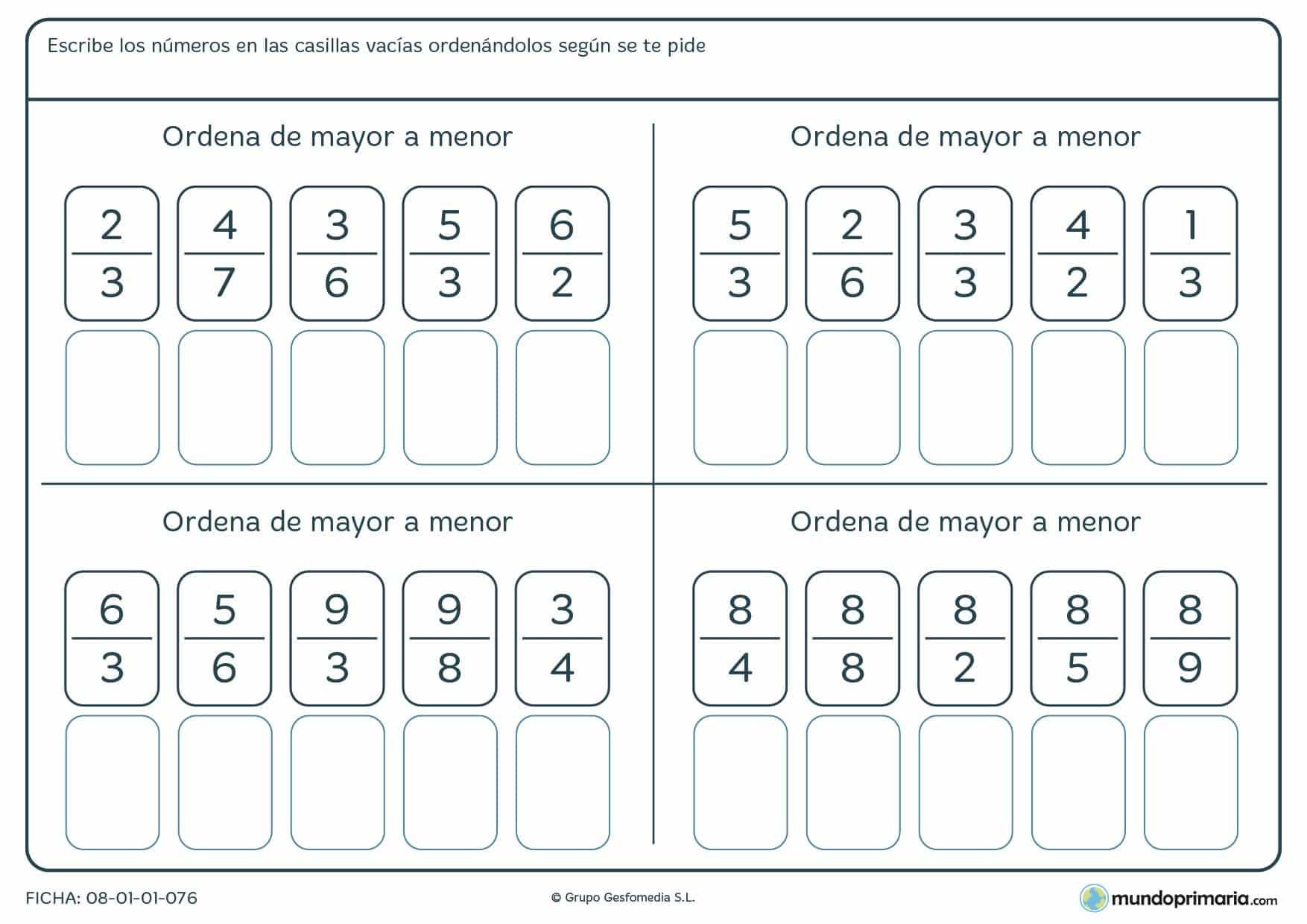 Ficha con fracciones que hay que ordenar de mayor a menor para 6º