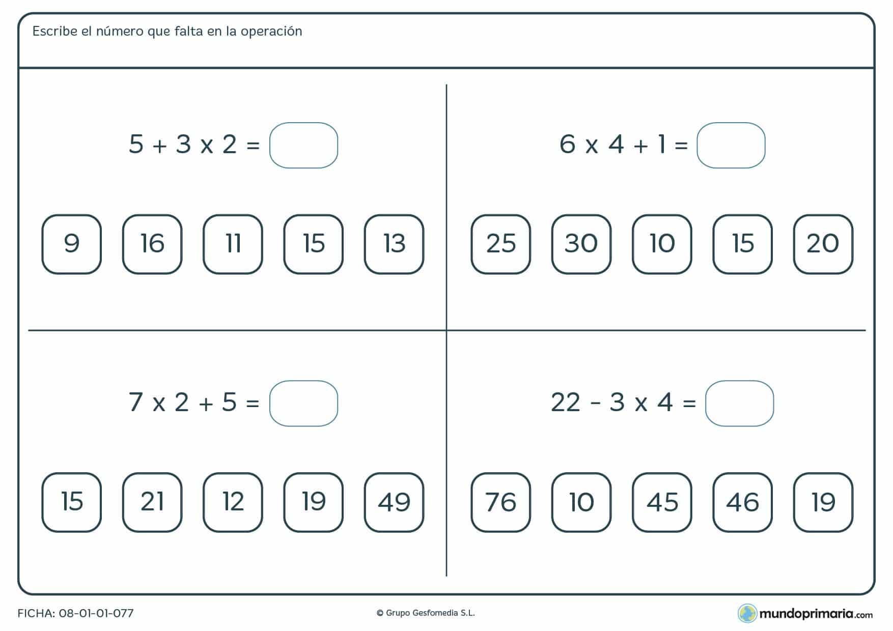 Ficha con operaciones con distintos signos para resolver para sexto
