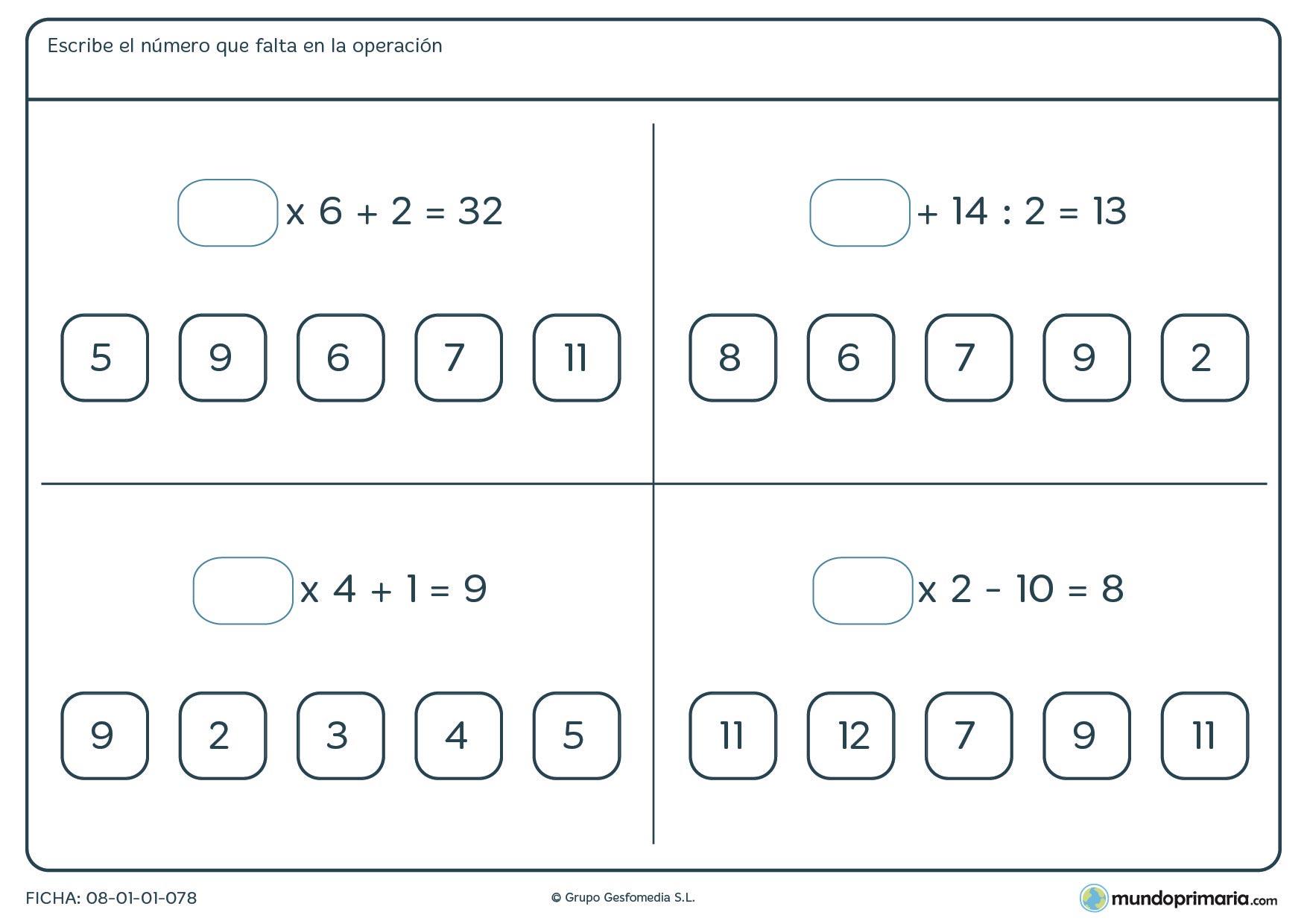 Ficha para rellenar el hueco con los números de la imagen para sexto