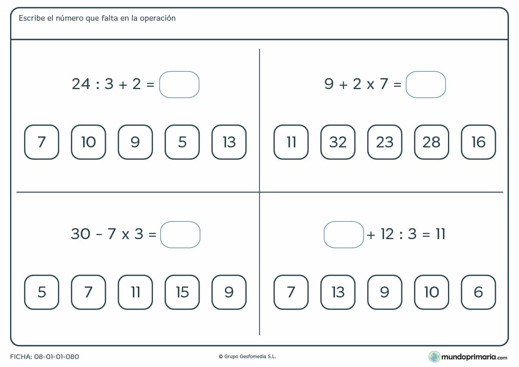 Ficha para resolver operación con los números que aparecen para 6º