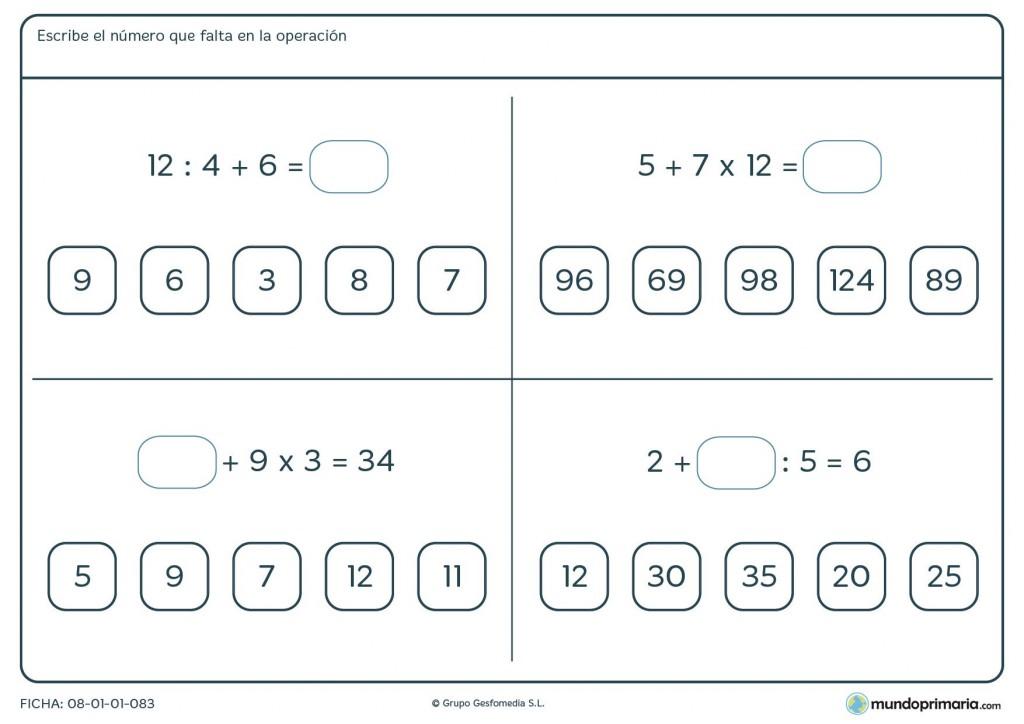 Fichas de jerarquía de las operaciones con sumas, restas, etc para 6º