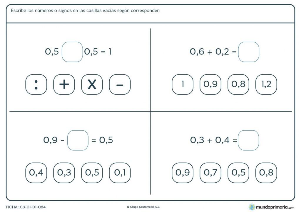 Ficha de operaciones con números decimales de 2 cifras para 6º