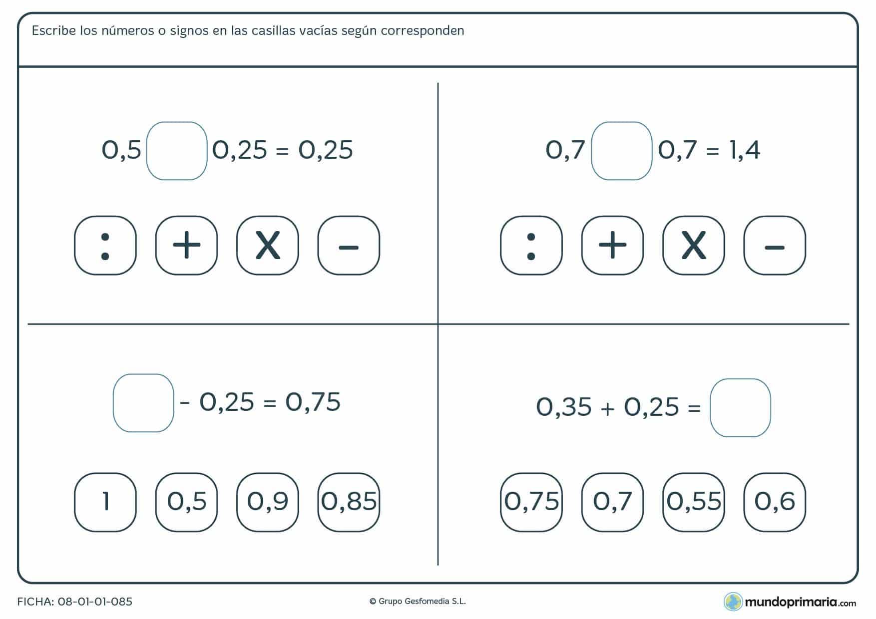 Ficha de operaciones simples con decimales para completar para 6º