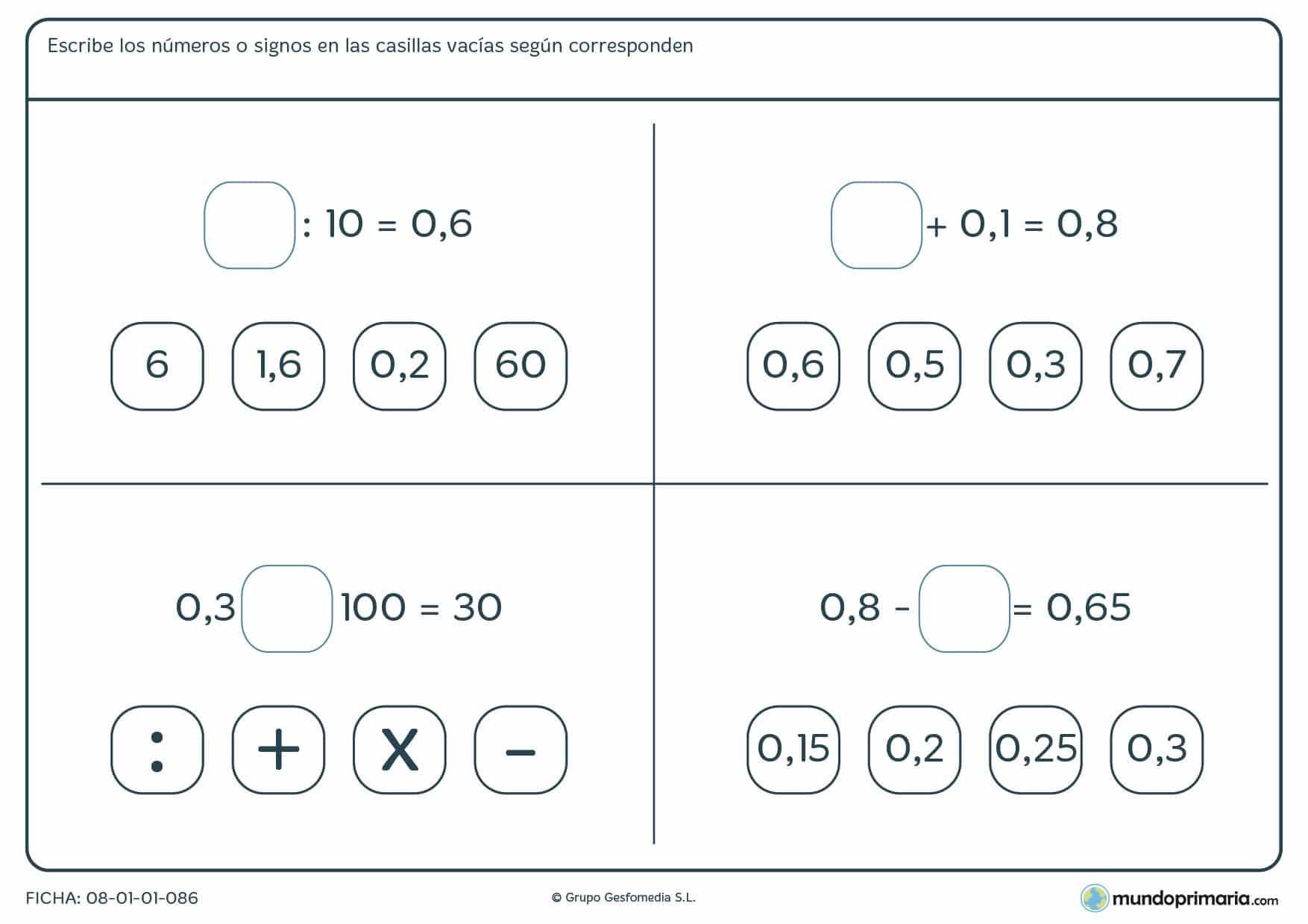 Ficha de operaciones decimales básicas con huecos a rellenar para 6º