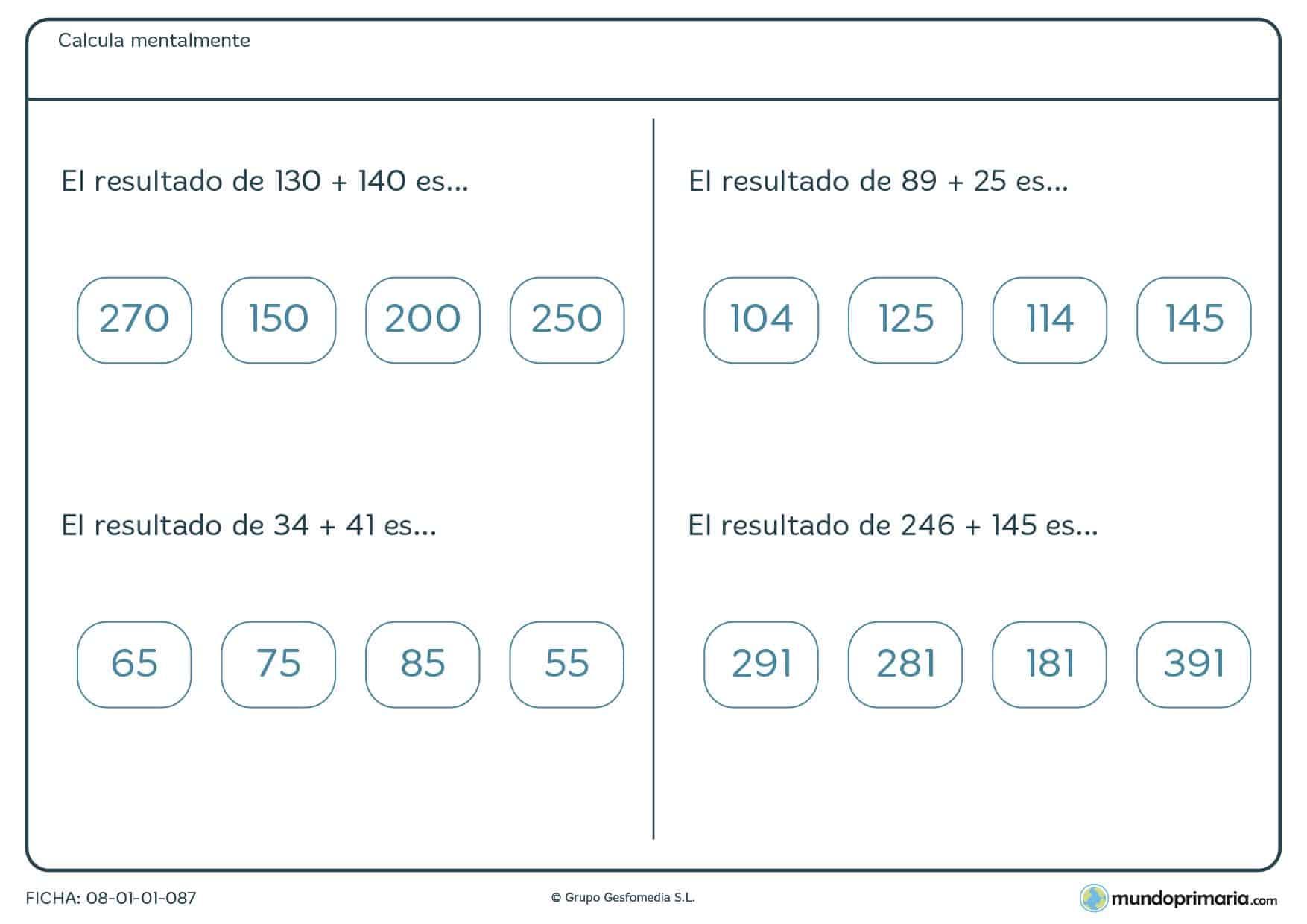 Ficha con sumas de dos números para calcular mentalmente para Primaria