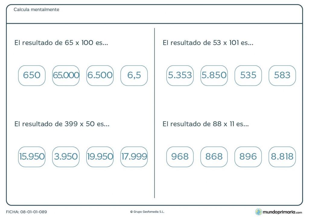 Ficha de multiplicar números de más de 2 cifras mentalmente por 6º