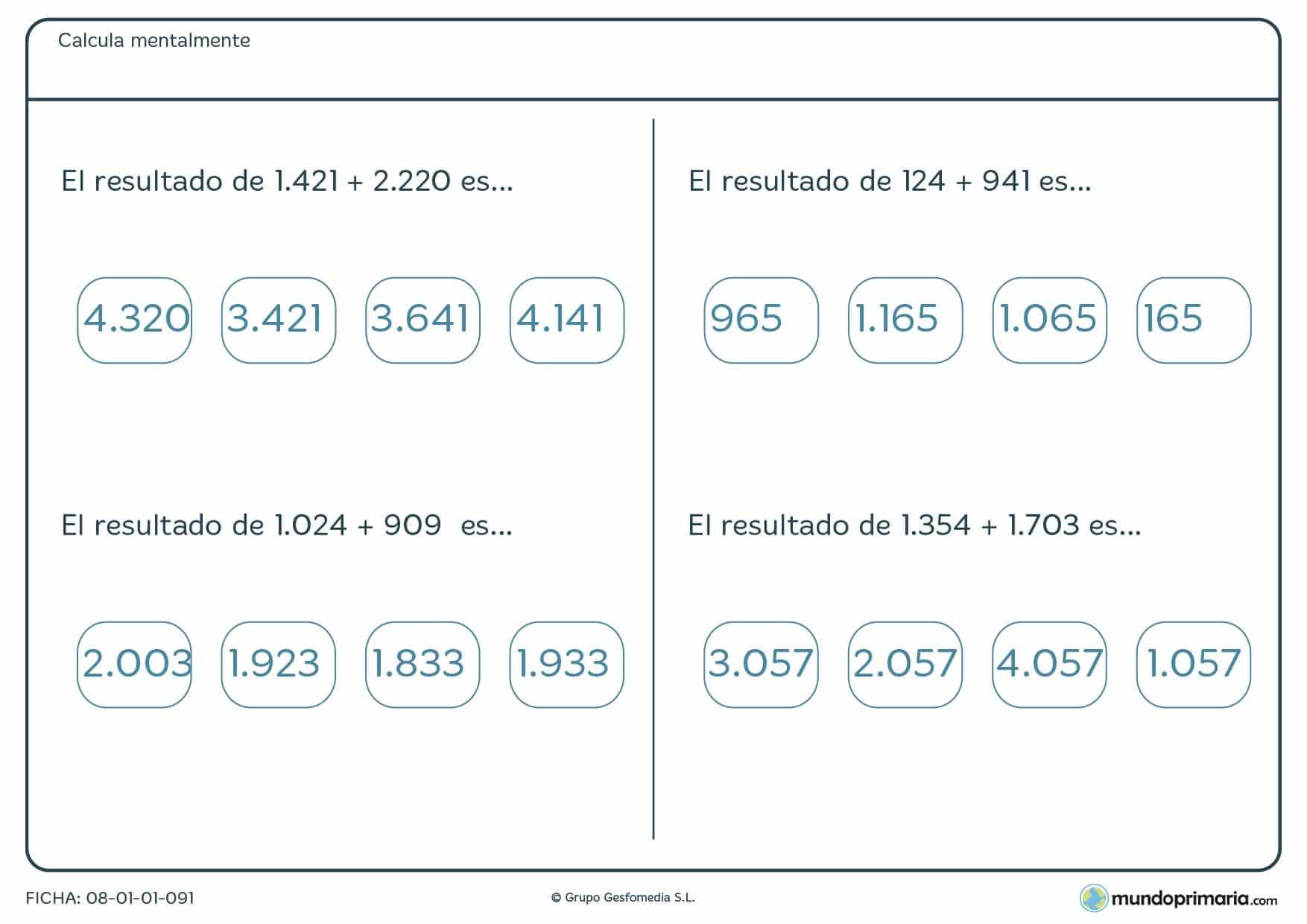 Ficha con sumas mentales cuyo resultado es de 4 cidras para 6º