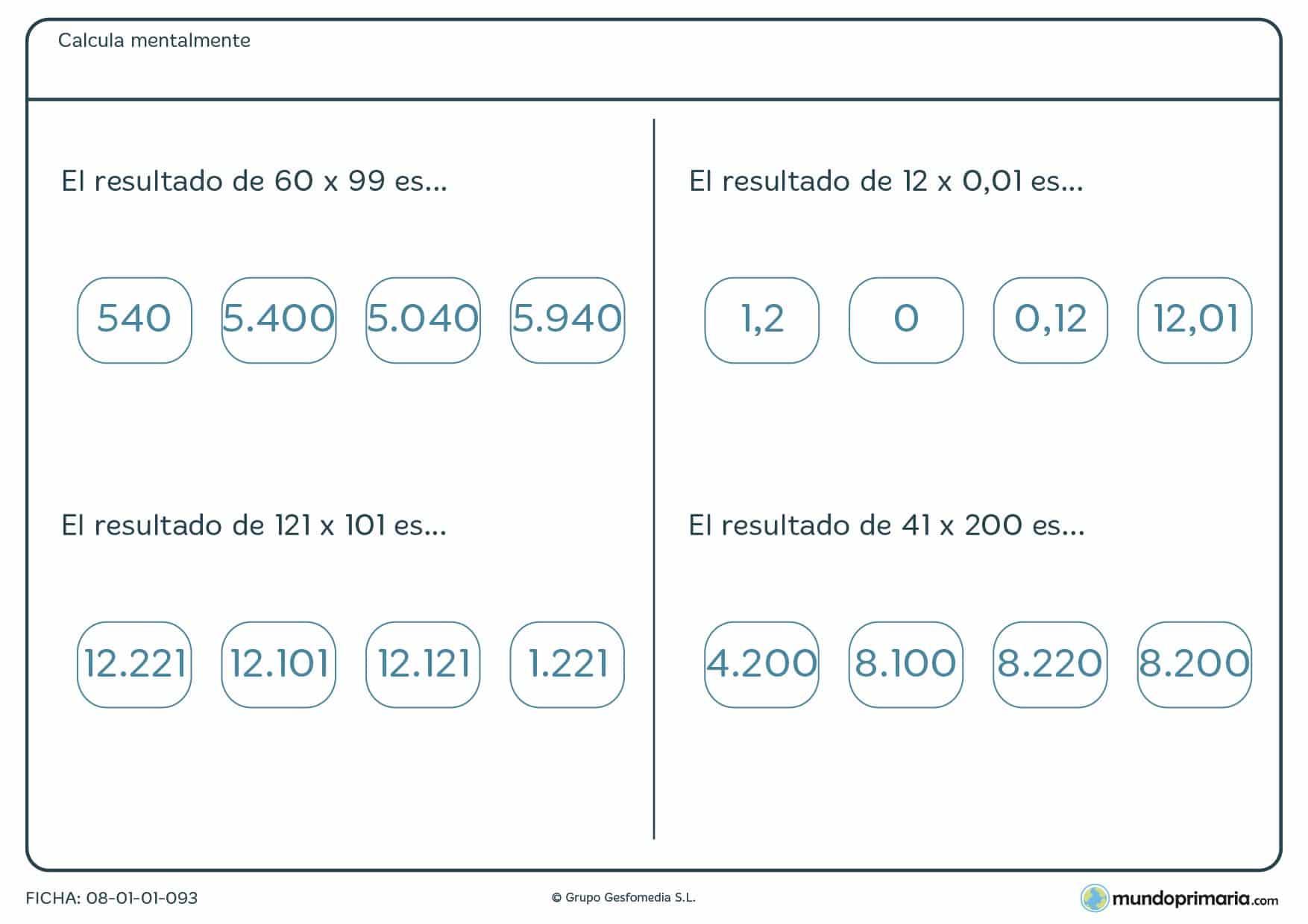 Ficha con multiplicaciones de cálculo mental de nivel medio para 6º