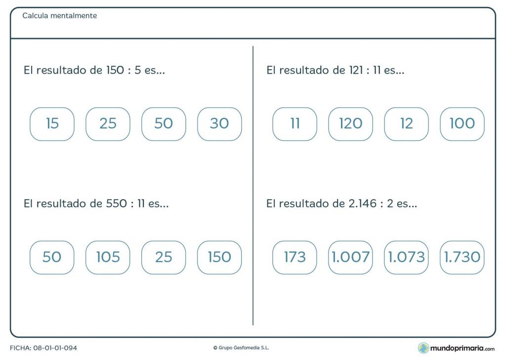 Ficha con divisiones para calcular mentalmente con resultados para 6º