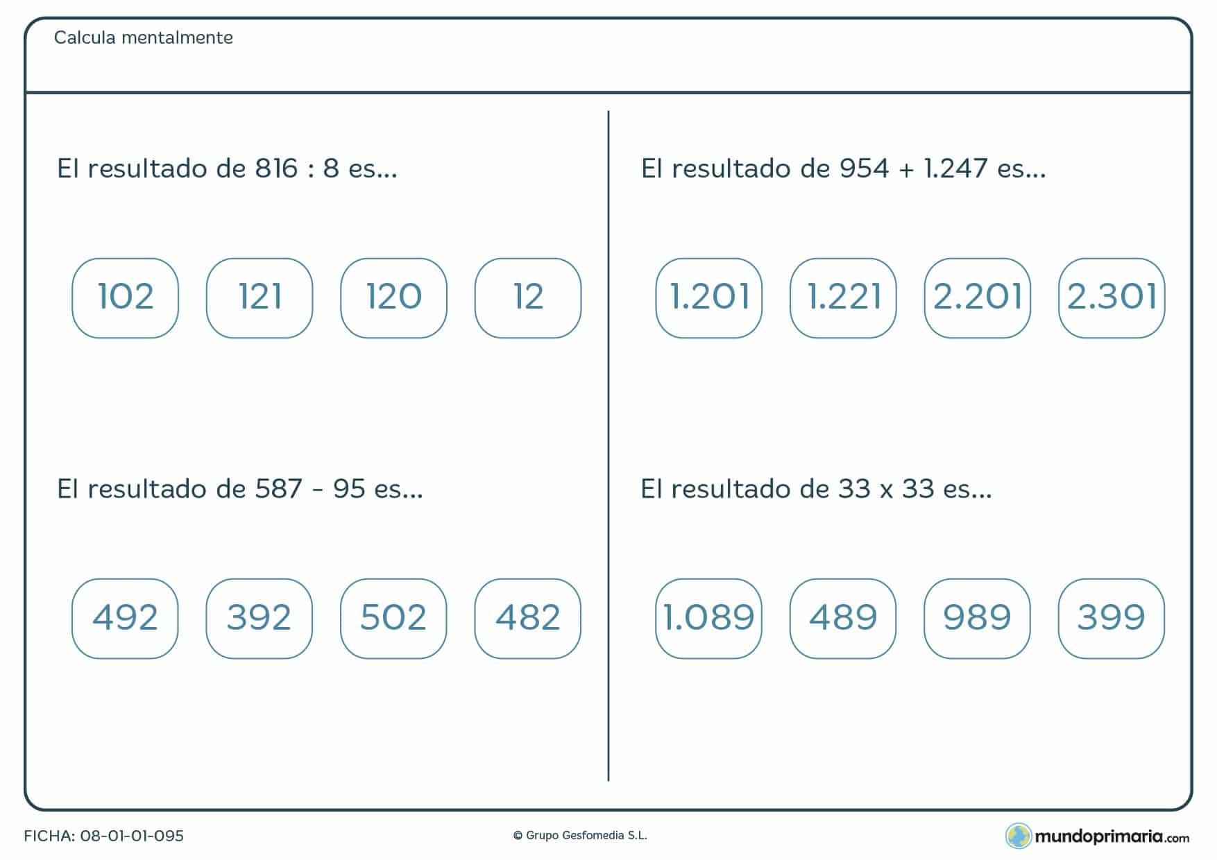 Ficha de varias operaciones de cálculo mentar para alumnos de 6º