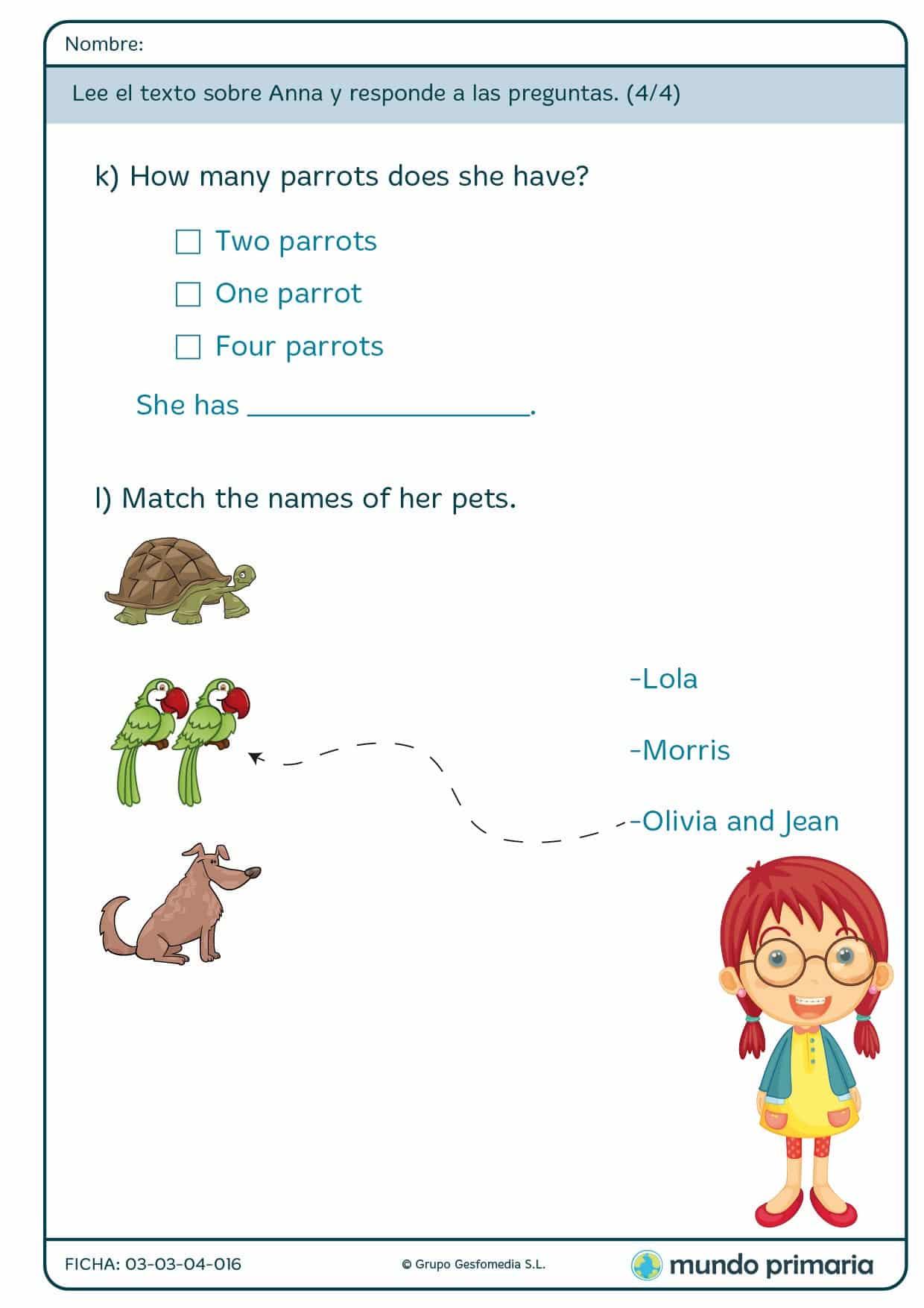 Ejercicios De Inglés Para Niños De Primaria Para Imprimir