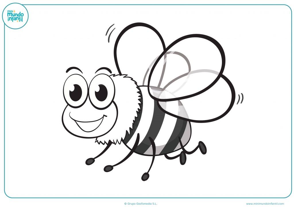 Descarga el dibujo de la abeja volando y coloréalo