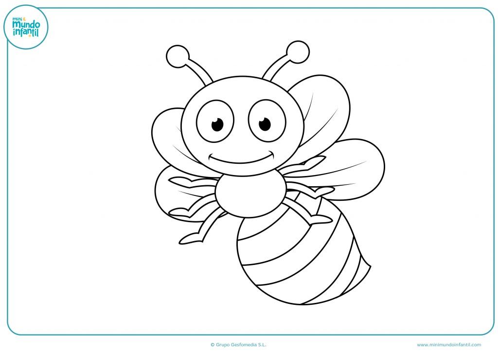 Mira con atención el dibujo de la abeja y coloréalo con cuidado