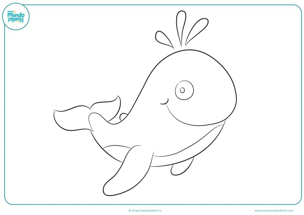 Colorea la gran ballena azul con tus mejores colores