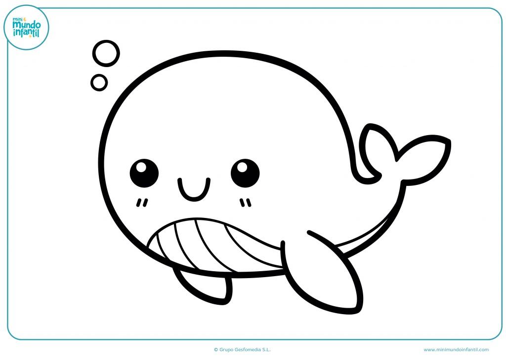 Pinta la ballena que está en el mar nadando con pintura
