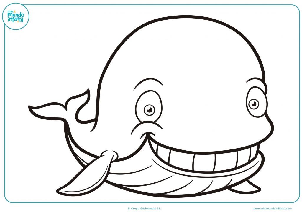 Descarga la imagen para terminar de colorear la ballena feliz