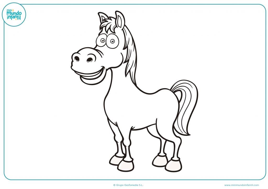 Colorea el dibujo del caballo de la granja de los animales