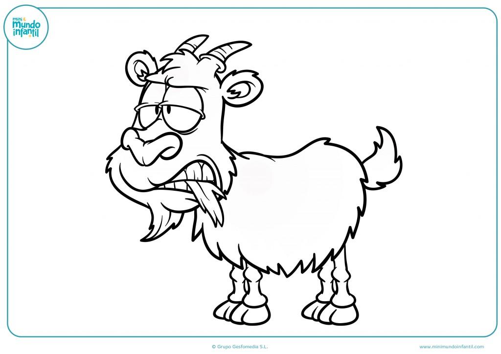 Dibujo para niño infantil para colorear una cabra