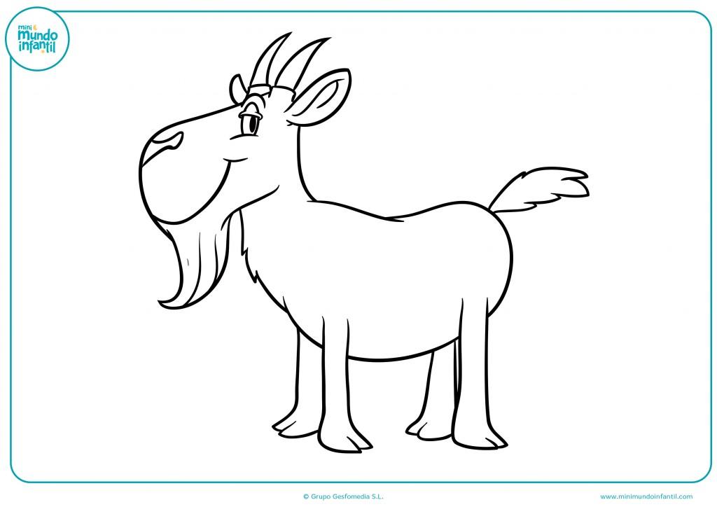 Dibujo coloreable de una cabra con bigote infantil