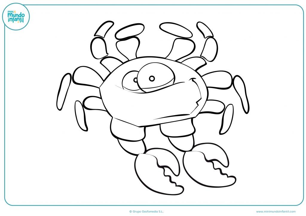 Con pintura colorea el cangrejo para terminar el dibujo