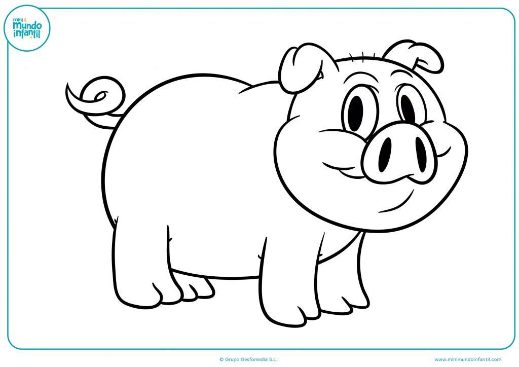 Observa el dibujo del cerdo y coloréalo a tu gusto