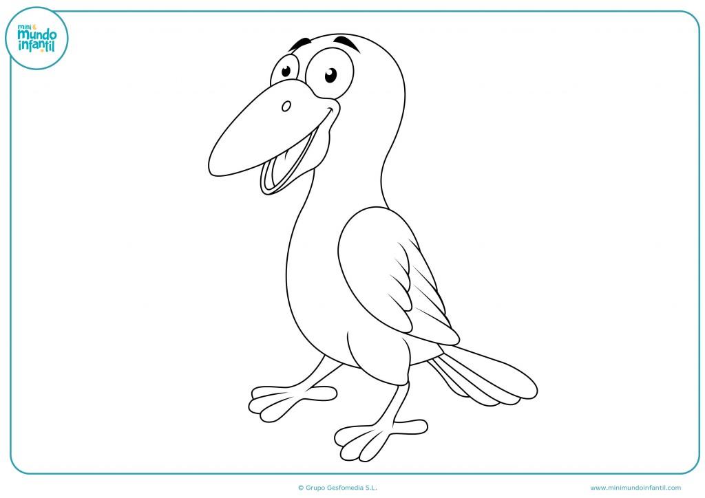 Dibujo de un cuervo con un gran pico y ojos grandes