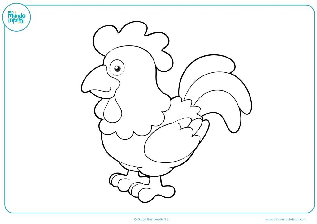 Dibujo de una gallina en blanco coloreable para niños