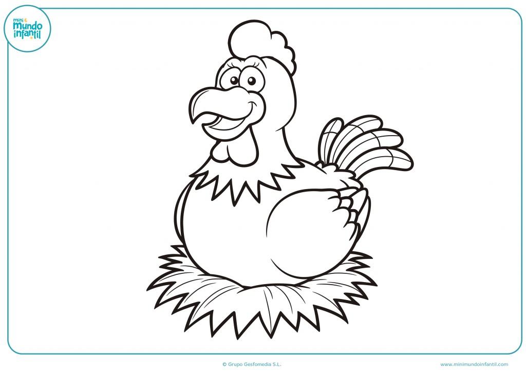 Colorea la gallina sentada en su nido con pintura