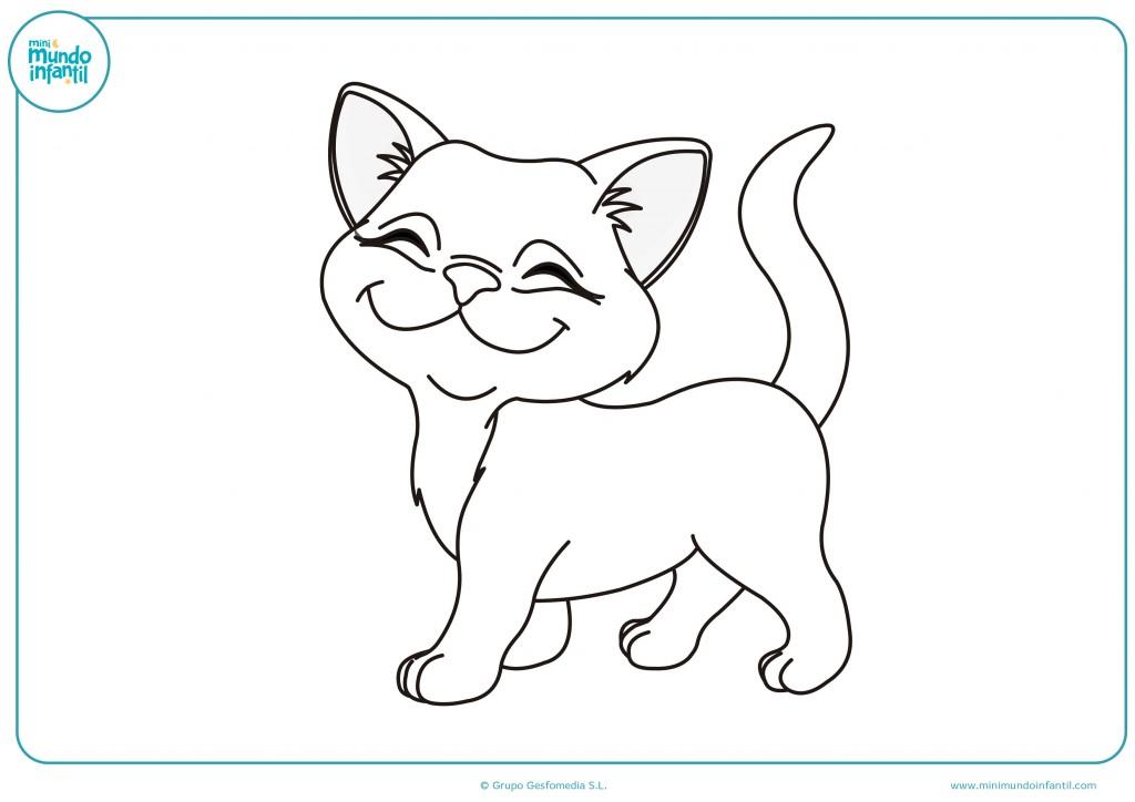 Pinta el dibujo del gato feliz de color blanco para niños