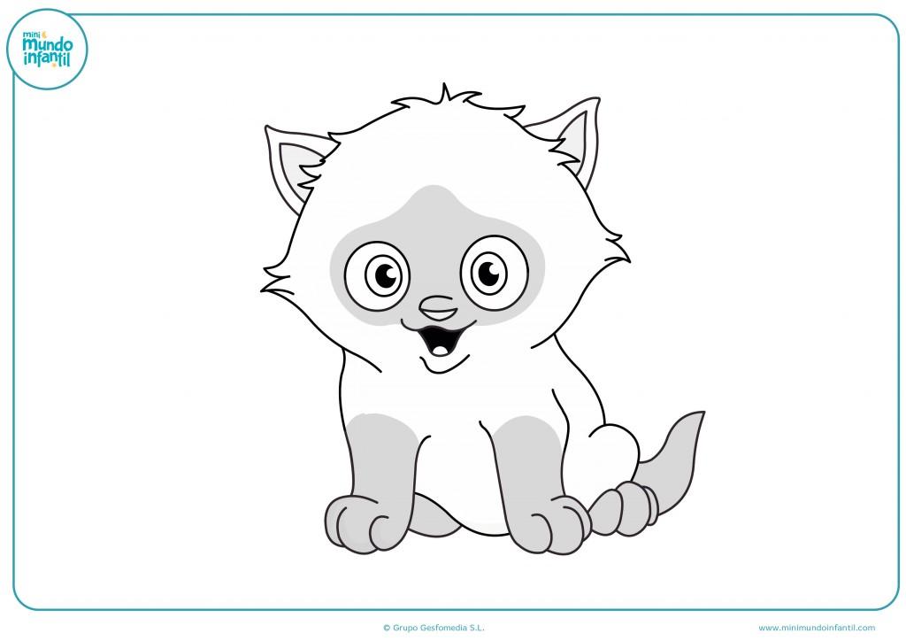 Dibujo de un gato con manchas oscuras para coloréalo
