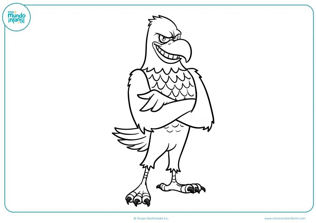 Pinta el dibujo del halcón con los brazos cruzados con colores