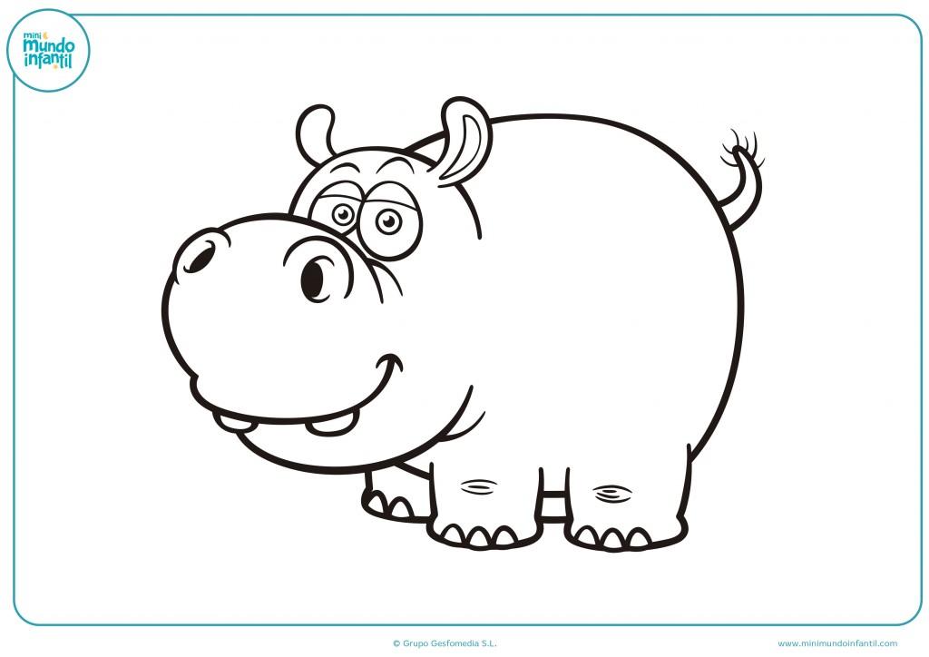 Dibujo de hipopótamo salvaje grande para colorear