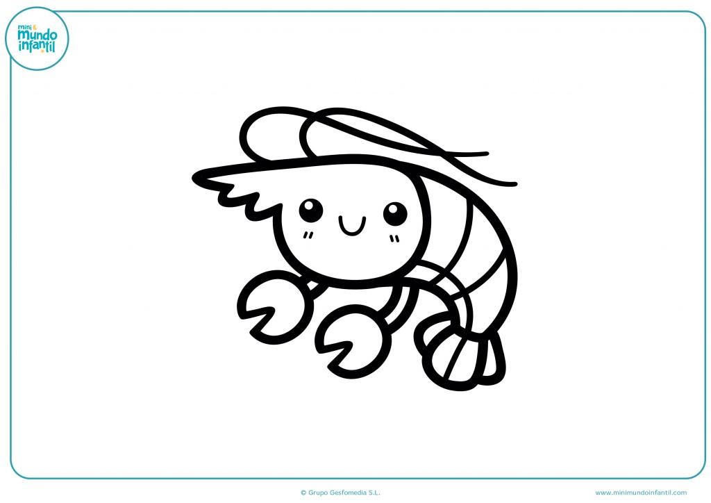 Descarga el dibujo de la langosta de mar y píntala