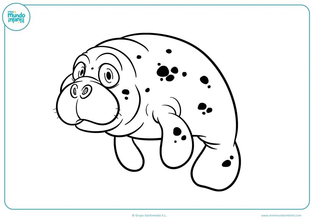 Pinta el dibujo del manatee con manchas de pintura