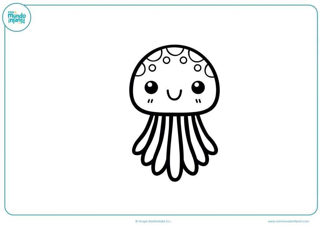 Descarga y colorea la medusa bebé con tus colores favoritos