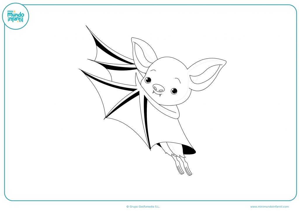 Dibujo de un murciélago pequeño para colorear en infantil