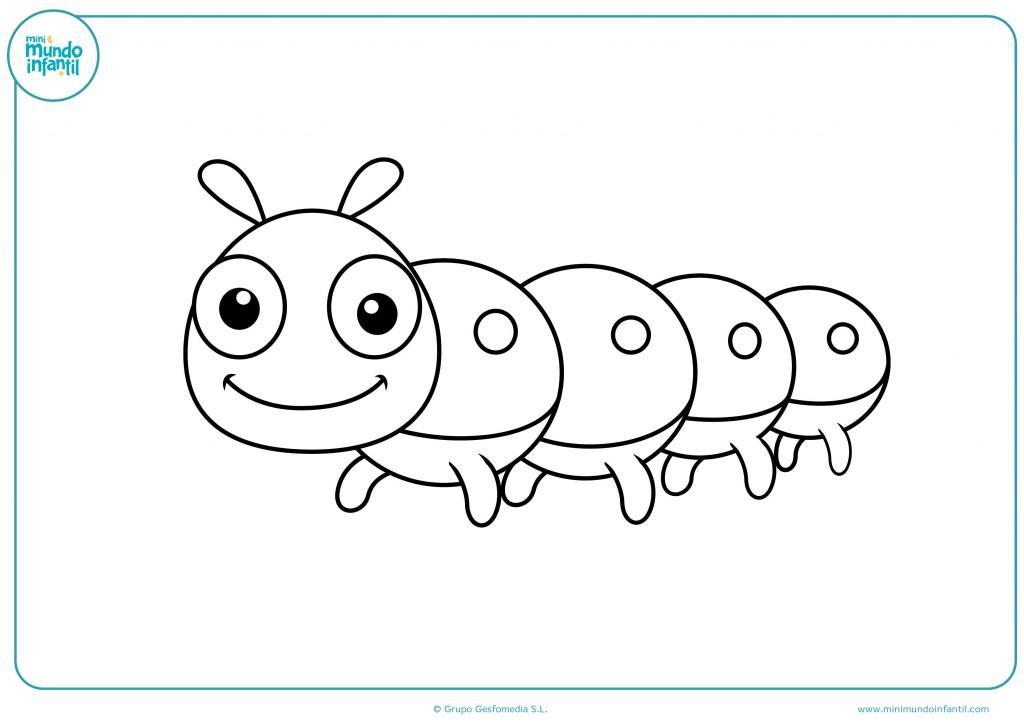 Pinta el dibujo de la oruga de ocho patas animada para niños