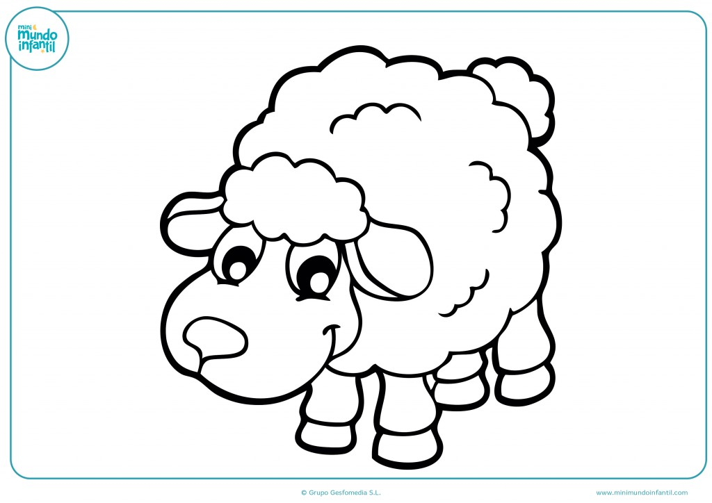 Con tus colores favoritos pinta la oveja de lana blanca